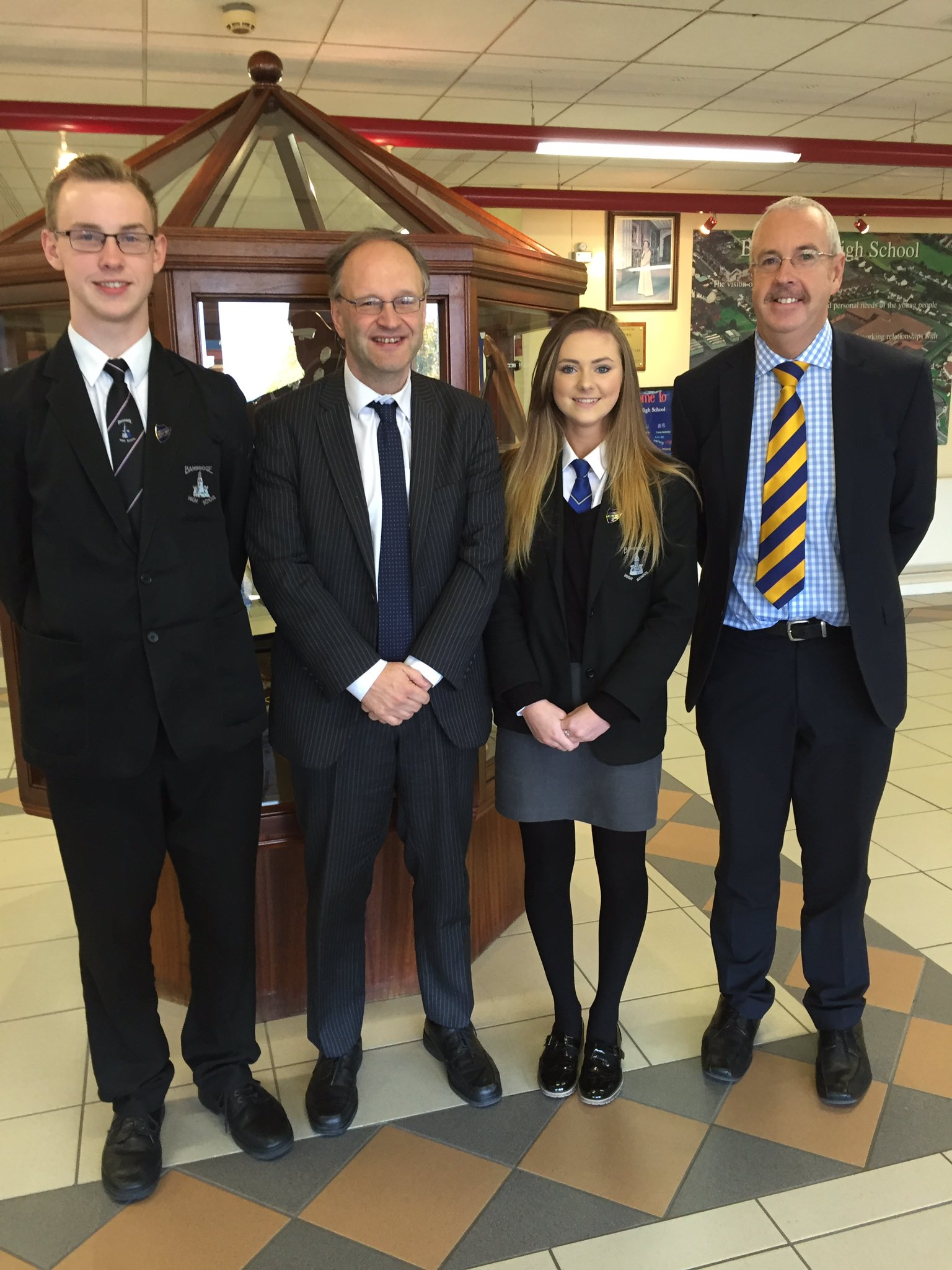 Education Minister with Principal, Head Boy & Head Girl